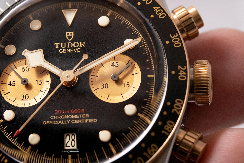 Detalle de la esfera del Tudor Black Bay Chrono S&G