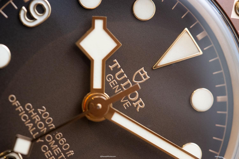 Detalle de la esfera del Tudor Black Bay Fifty-Eight Bronze Boutique Edition