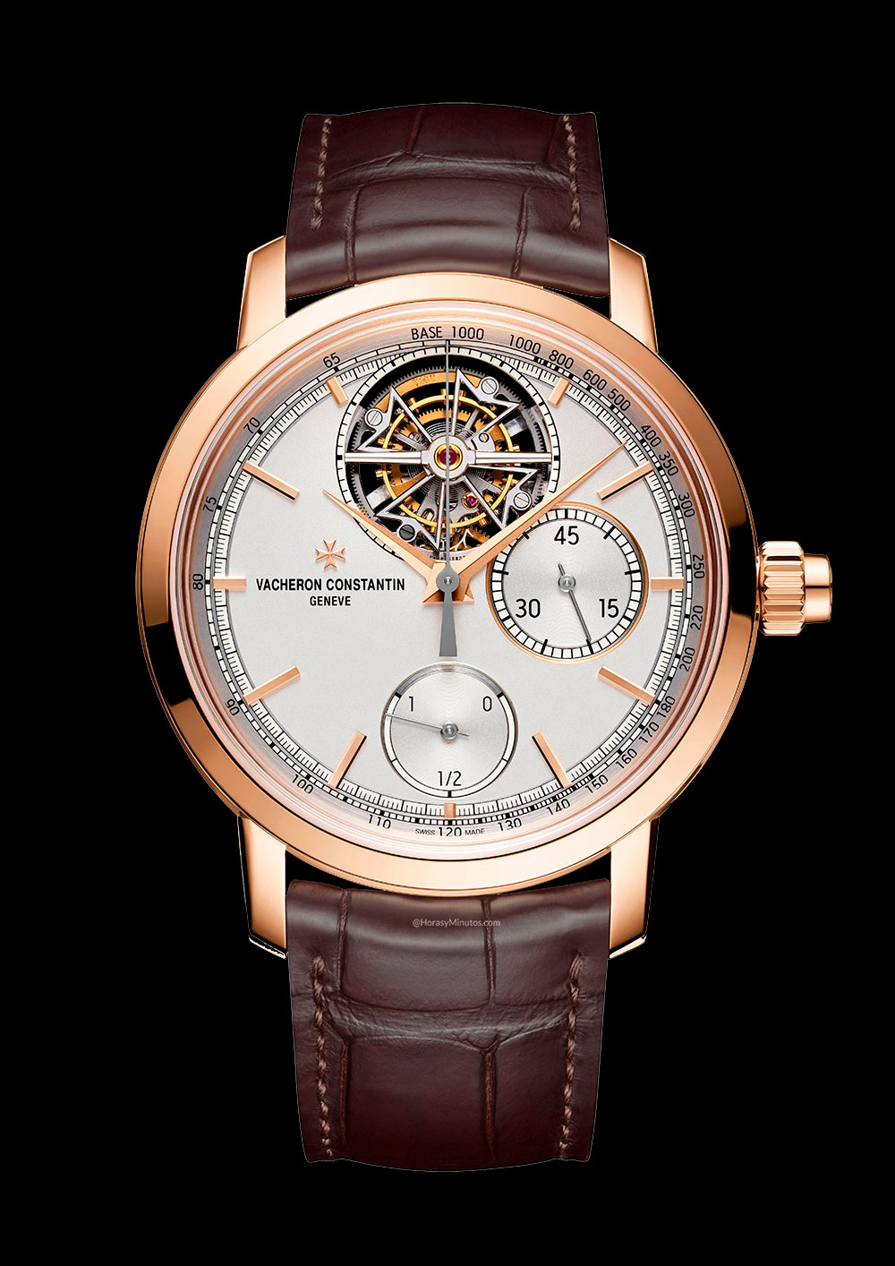 Vista frontal del Vacheron Constantin Traditionnelle Chronograph Tourbillon