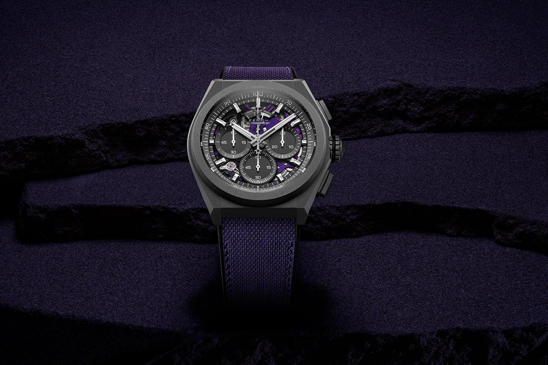 El Zenith Defy 21 Ultraviolet, de frente