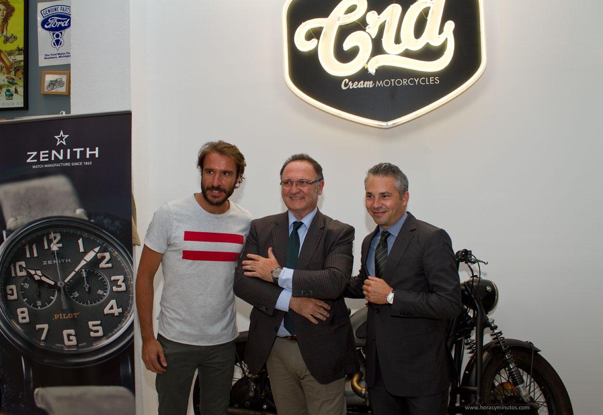 Pedro García -creador de Café Racer Dream-, Julio Ruiz Lerma -Director de Zenith España- y Nicolas Meda -Director Comercial Internacional de Zenith-, durante la presentación en Madrid