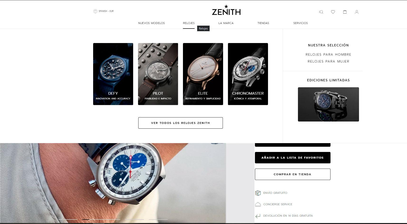 Página de inicio de la tienda online de Zenith