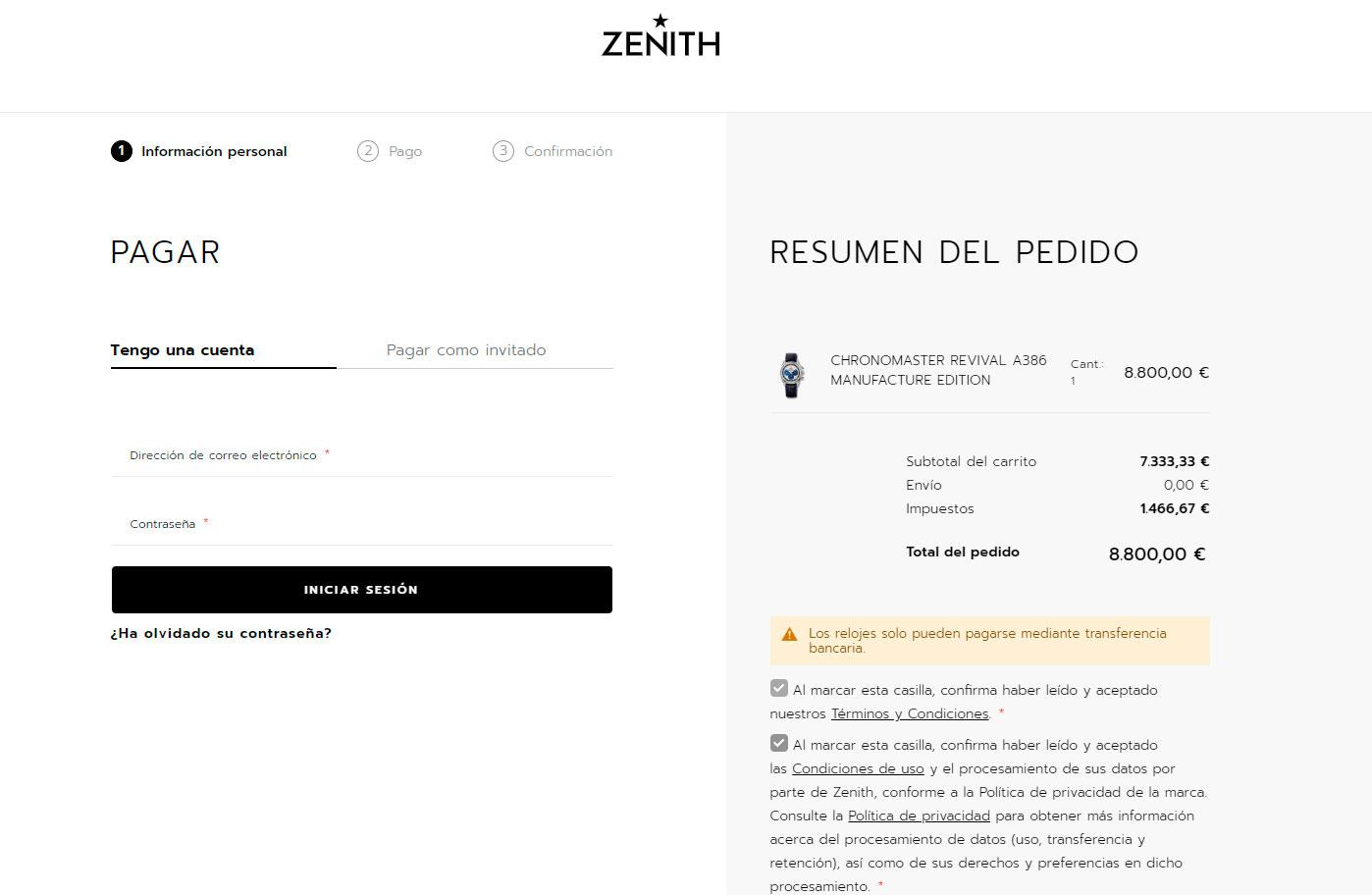 Página de pago de la tienda online de Zenith